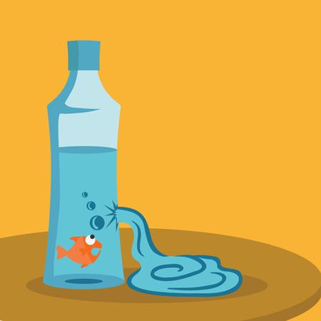 gold fish bowl: Fish in broken bottle