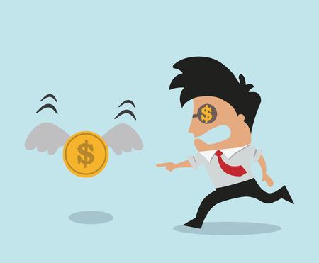 atrapar: El hombre tratando de atrapar dinero Vectores