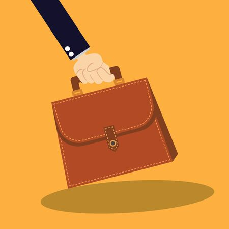 business hand: Business hand holding briefcase with documents vector illustration Illustration
