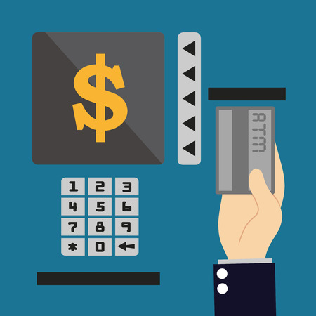 withdraw: ATM terminal usage. Payment through the terminal. Getting money from an ATM card. Vector illustration