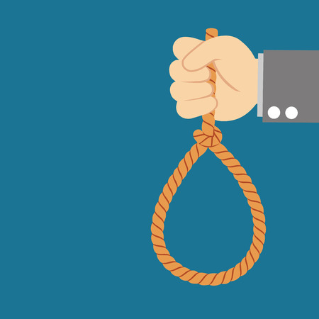 hanging on: Suicide and business topic: Hand of a businessman in a black jacket holding a loop of rope for hanging