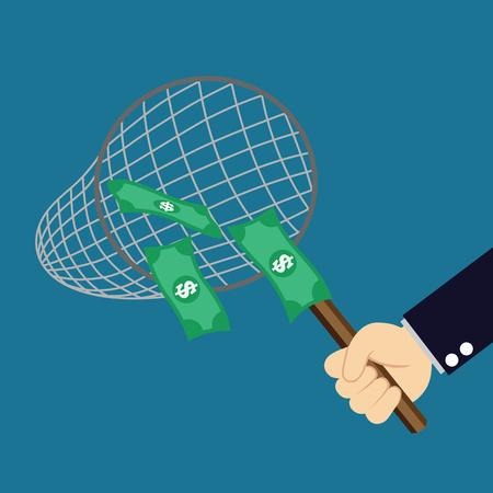 man fishing: dinero en la red de pesca Vectores