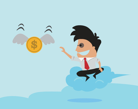 Man trying to catch money Illustration