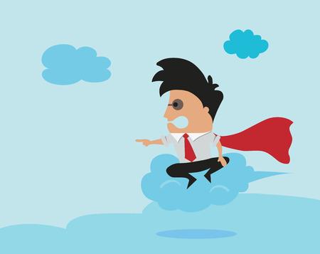 flying man: Man flying on cloud