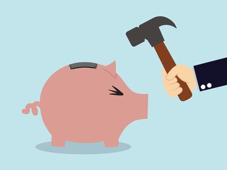 moneybox: Divida hucha cerdito Vectores