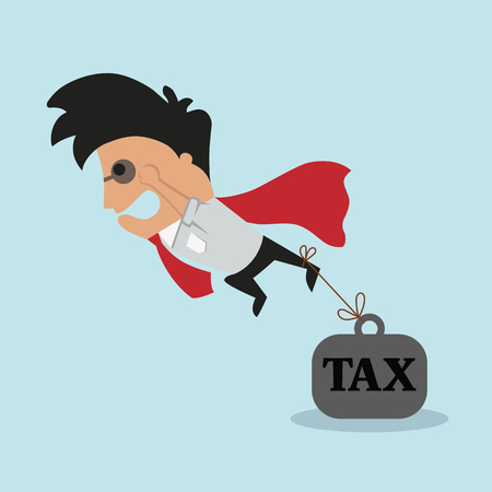 burden: Businessman and tax burden. Vector flat illustration