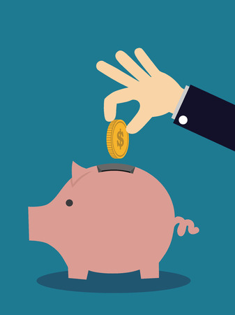 Piggy bank and hand with coin. Vector illustration