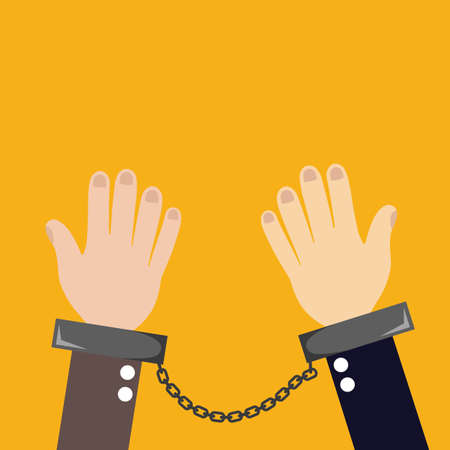 manacles: Hands with closed manacles on his hands on orange background Illustration