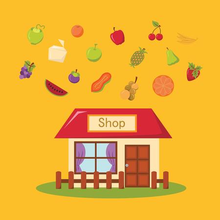 foodstuffs: Store icon. Shop icon. Flat design. Vector illustration