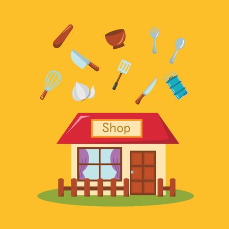 tiendas de comida: Icono de tienda. Icono Shop. Diseño plano. Ilustración vectorial