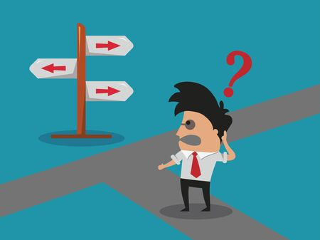 doubting: Businessman doubting in a crossroad Illustration