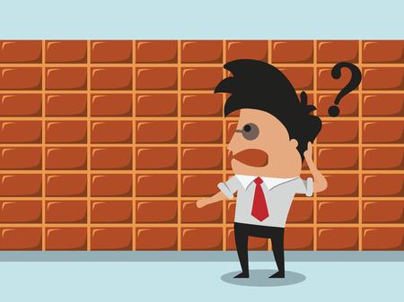 goes: Businessman goes through  brick wall Illustration