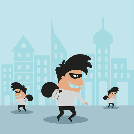 cartooned: Cartooned thief in black mask and costume running away from the