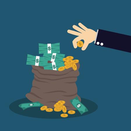 greenback: hand and money bag. Money making. Bank deposit. Financials. Illustration