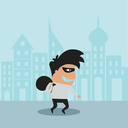 Cartooned thief in black mask and costume running away from the