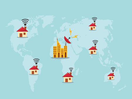 oftware: World map with wifi sign Illustration