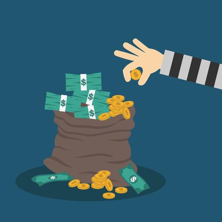 business money: hand and money bag. Money making. Bank deposit. Financials. Illustration