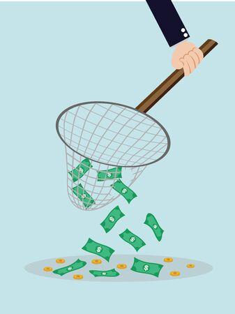 eager: money in fishing net Illustration