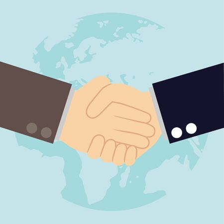 teamwork together: Worldwide cooperation concept - Business handshake with world map and connected user icons Illustration