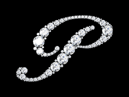 stunning: A stunning beautiful P set in diamonds. V6 Stock Photo