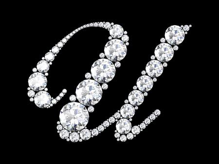 stunning: A stunning beautiful U set in diamonds. V6 Stock Photo