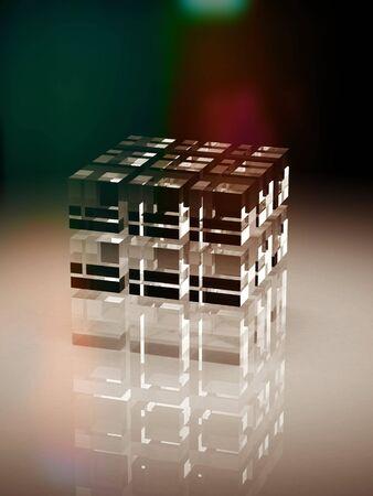 Cubi bloccano. Assemblaggio concetto. Il lavoro di squadra business su sfondo bianco. 3D rendering icona.