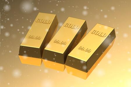 stock exchange: Set of gold bars (high resolution 3D image)