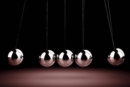 contrasts: Balancing balls Newtons cradle (high resolution 3D image)