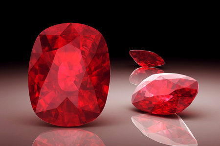 red stone: ruby on white background (high resolution 3D image)