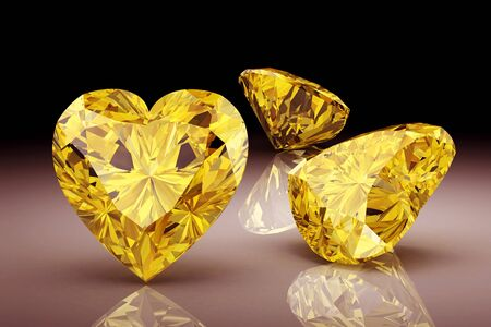 faceting: yellow sapphire on white background (high resolution 3D image) Stock Photo