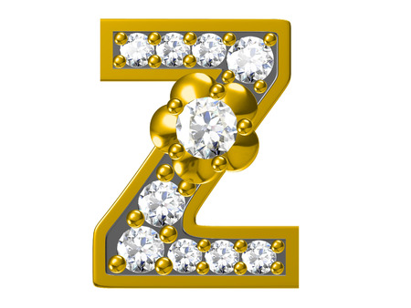 nickel: Golden alphabet with diamonds,