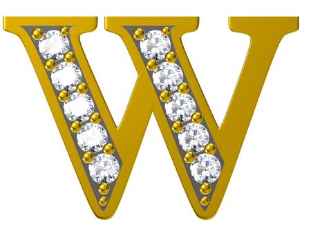 Golden alphabet with diamonds,