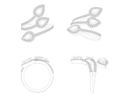 engagement ring: Diamond engagement ring isolated on white background