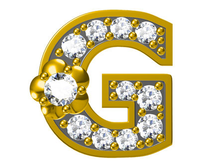 nickel: Golden alphabet with diamonds,