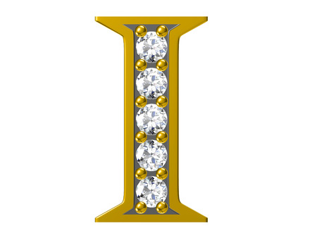 brilliant: Golden alphabet with diamonds,