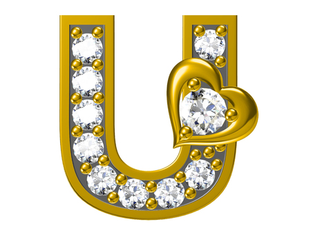 Golden alphabet with diamonds,