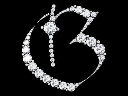edelstenen: diamant brieven met edelstenen geïsoleerd op zwart