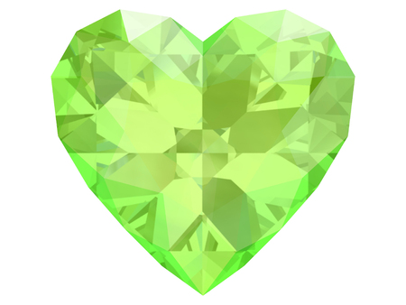 Peridot gem on white background (high resolution 3D image)