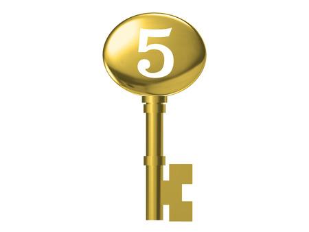 skeleton key: Gold Skeleton Key isolated on white background .3D illustration
