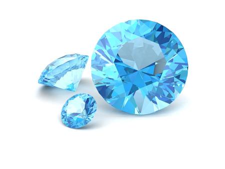 topaz: Shiny white blue topaz illustration (high resolution 3D image)3D illustration Stock Photo