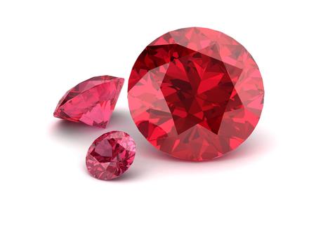 sapphire gemstone: Shiny white ruby illustration (high resolution 3D image) 3D illustration