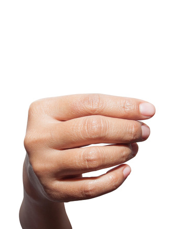 hand hold something on a white background Stock Photo