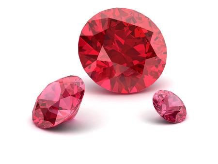 Shiny white ruby illustration (high resolution 3D image) 3D illustration