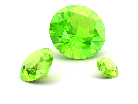 emerald stone: Shiny white Peridot illustration (high resolution 3D image) 3D illustration
