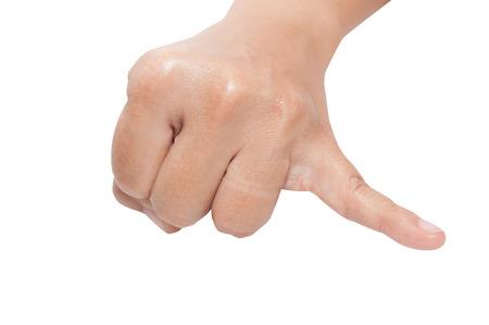dedo meÑique: Levantando el dedo meñique aislado en un fondo blanco
