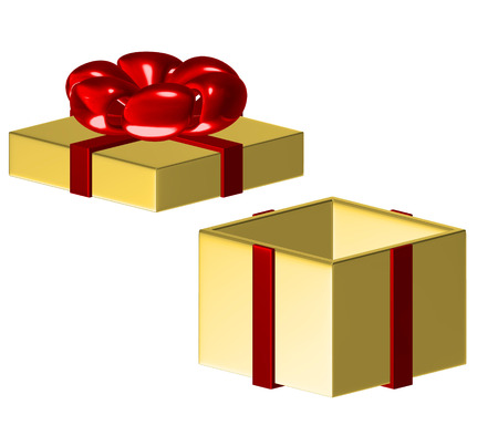 Gift box with ribbon and bow.on white background