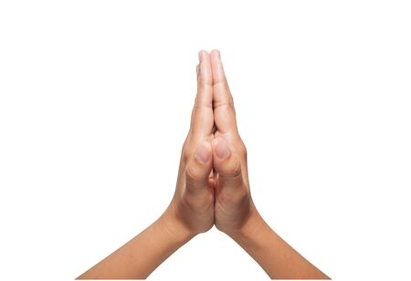 implore: Hand sign Thai Greeting on isolated white background
