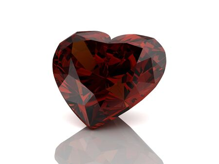 asscher cut: ruby on white background.3D illustration