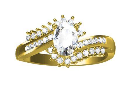 platinum: The beauty diamond ring isolated on white background.3D illustration Stock Photo
