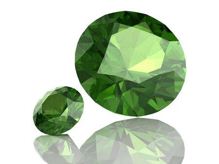 stetting: Peridot gem on white background .3D illustration